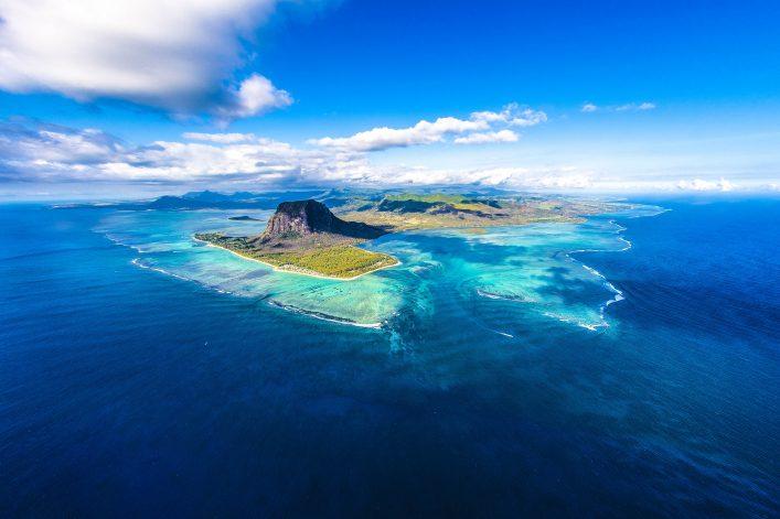onderwater waterval Mauritius