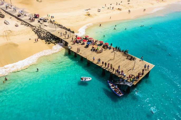 Aerial view of Santa Maria beach in Sal Island Cape Verde – Cabo