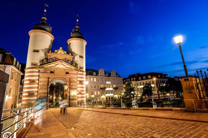Blue night over Old bridge in Heidelberg Germany iStock_000011676091_Large-2