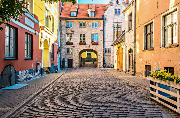Medieval street in old Riga city, Latvia iStock_000070434297_Large-2