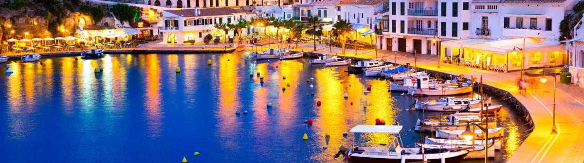 Calasfonts Cales Fonts Port sunset in Mahon at Balearics