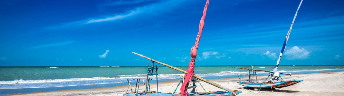 Fishing boats on the beach of Natal, Brazil