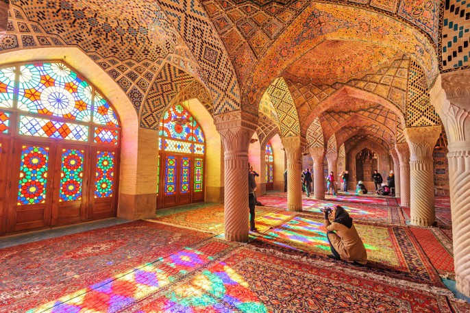 JPRichard  Shutterstock.com_SHIRAZ, IRAN – December 30_ An Interior view of Nasir Al-Mulk Mosque in Shiraz_Iran on December 30, 2012_It was built in 1888 and is known as Pink Mosque_220967485
