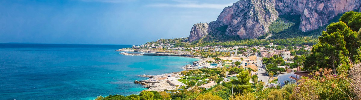 Panoramic view on Mondello bay in Palermo, Sicily.