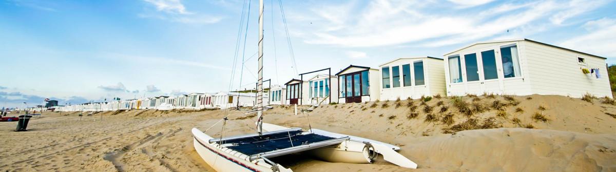 Little beach houses at Zandvoort aan Zee in the Netherlands