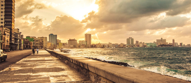 Fascinating evening cloudscape over the the Malecon in Havana, Cuba iStock_000056106488_Large-2