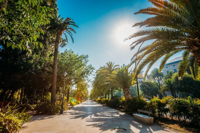 Sidewalk on the Paseo del Parque in Malaga, Spain
