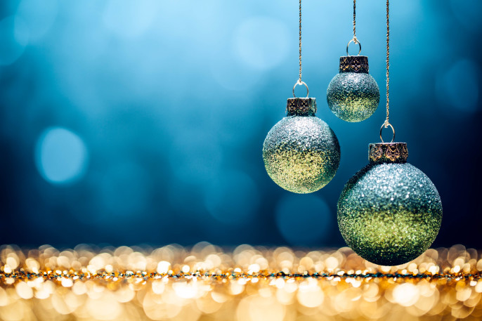 Blue Christmas – Lights Bokeh Defocused Decoration Gold