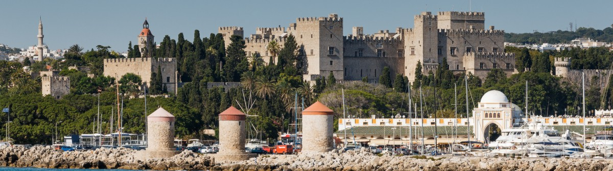 Panorama of the Old Town from the sea. Rhodes Island. Greece_shutterstock_313389113