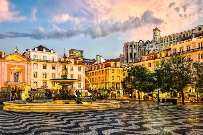 Rossio square in Lisbon, Portugal iStock_000069608703_Large-2