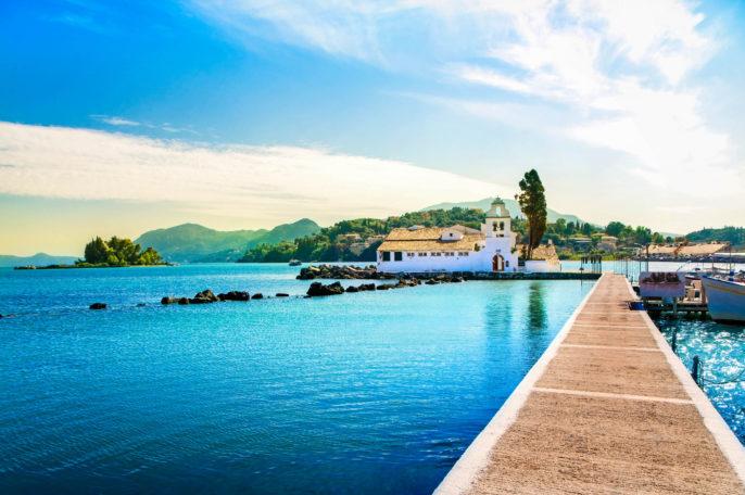Scenic photo of Pontikonisi of Corfu Island in Greece