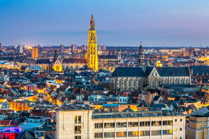 Antwerp cityscape at dusk