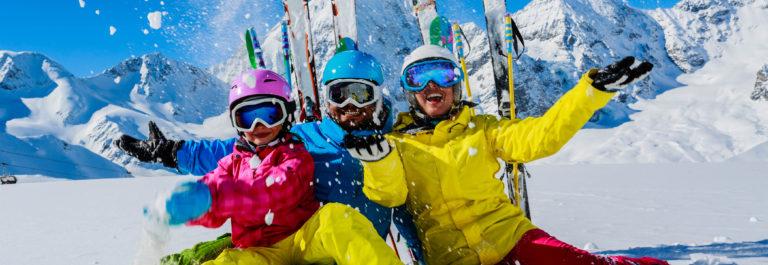 Ski family enjoying winter