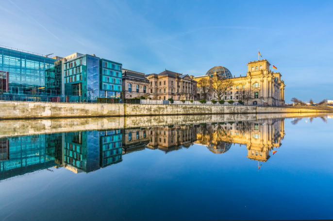 Reichstag with reflection in river Spree