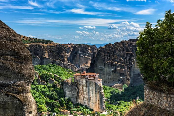 Monastery of Varvara Rusanov in Meteora, Thessaly, Greece - panoramic view