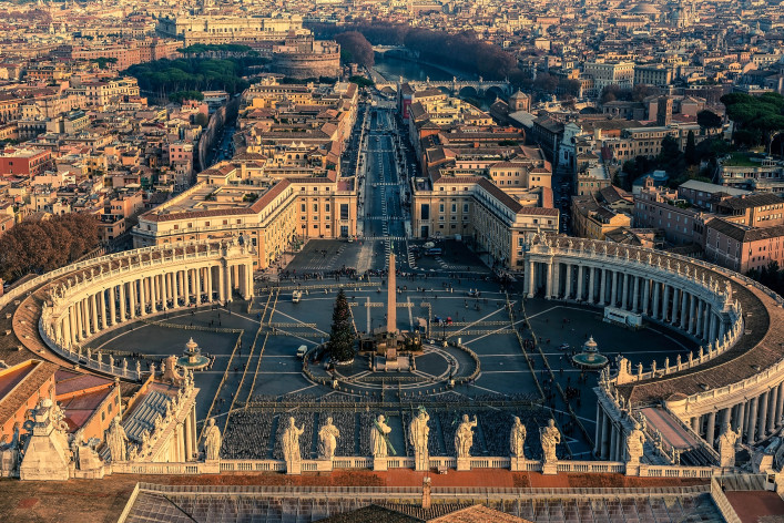 Aerial view of Vatican City and Rome, Italy. St. Peter's Square.