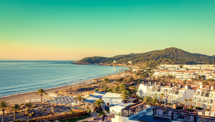 Ibiza Eivissa, sunrise over  Playa d'en Bossa Beach