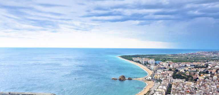 Blanes beach and Sa Palomera rock, Catalonia, Spain