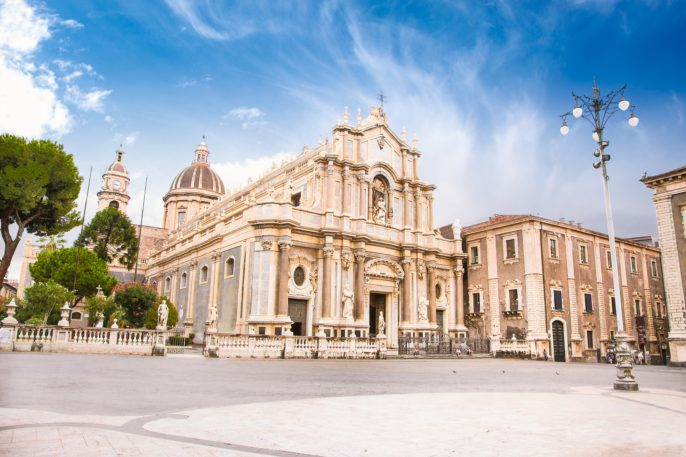 Piazza del Duomo in Catania with the Cathedral of Santa Agatha in Catania in Sicily, Italy._shutterstock_263006804