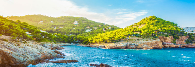 Rocky coastline of Costa Brava (Sa Tuna village, Catalonia, Spain)