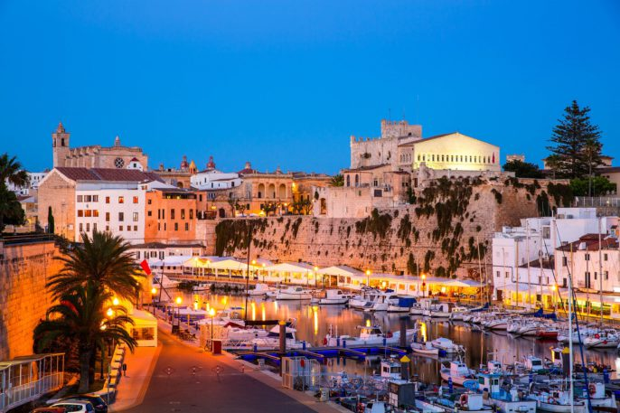 Ciutadella Menorca marina Port sunset town hall and cathedral in Balearic islands shutterstock_162344333-2