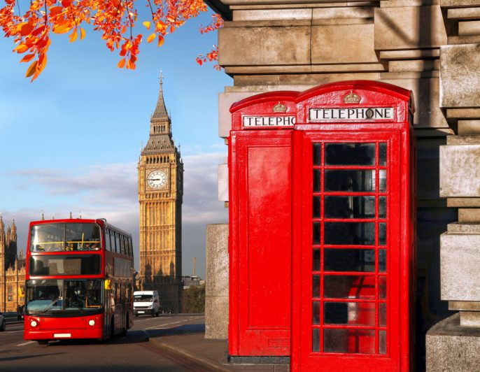 London Hop on Hop off Bus Telefonzelle shutterstock_302261093