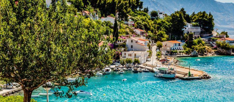 Beautiful Adriatic Bay and the Village near Split, Croatia