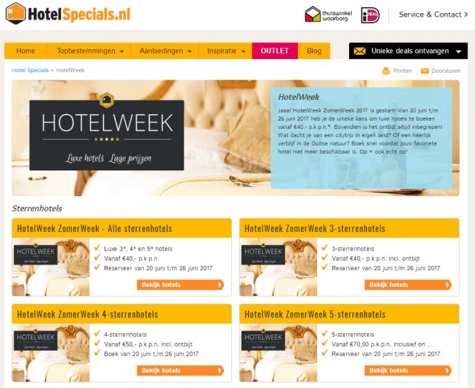 Hotelspecials actie Hotelweek