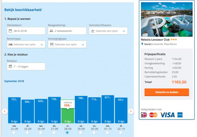 Screenshot van de Lanzarote aanbieding