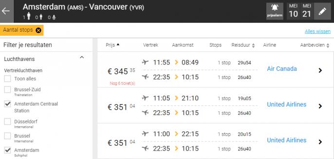 Screenshot van de vluchten naar Vancouver