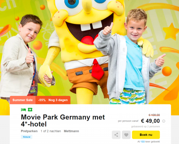 movie park germany aanbieding