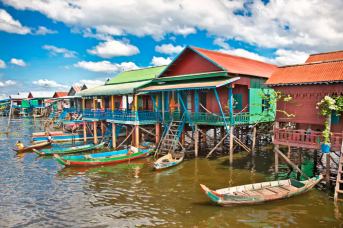 drijvend dorp Cambodja