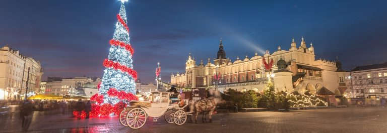 Krakow, Poland, Main Market square and Cloth Hall in the winter season, during Christmas fairs decorated with Christmas tree._shutterstock_350894495