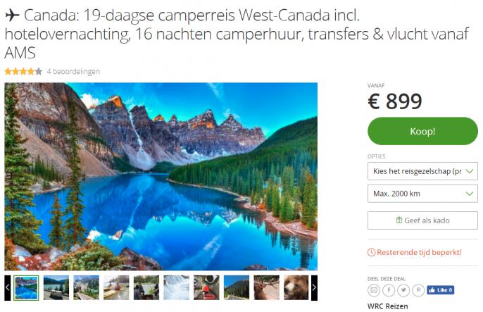 Screenshot van de camperreis Canada