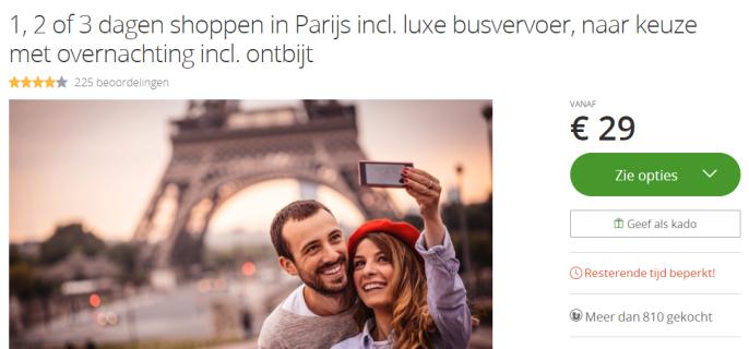 screenshot van een dagje Parijs