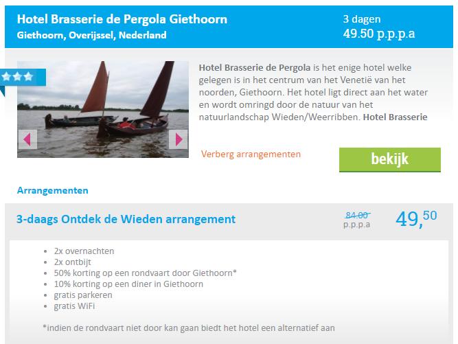 aanbieding hotel Giethoorn