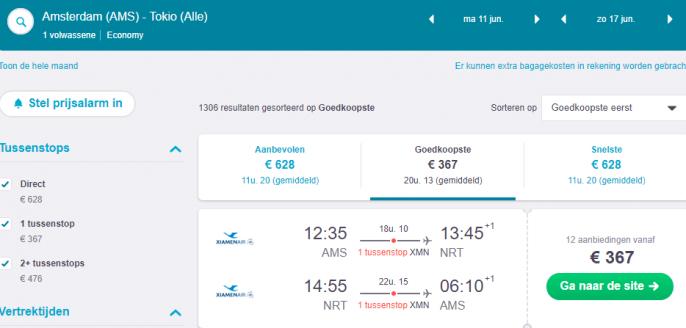 Screenshot van de vliegtickets naar Tokio