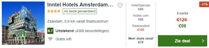 screenshot van het inntel hotel Zaandam