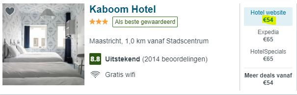 Screenshot van de hotel aanbieding