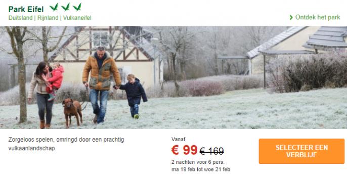 Screenshot van de deal naar Center Parcs in de Eifel