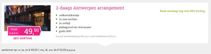 Screenshot van de Antwerpen deal