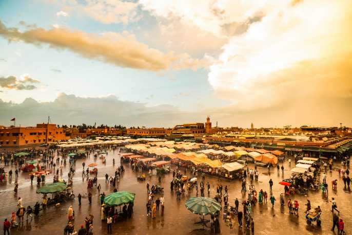 Het Jemaa el-Fna plein in Marrakesh