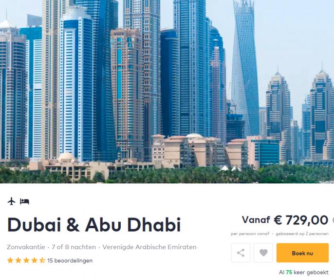 Screenshot van de deal naar Dubai en Abu Dhabi