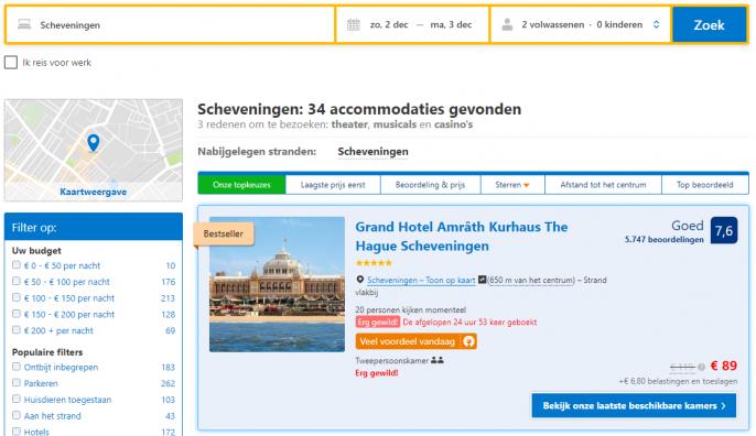 Screenshot van de Kurhaus aanbieding