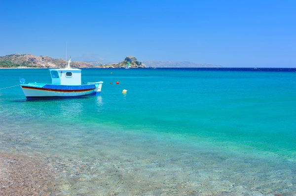 Blauwe zee op Kos