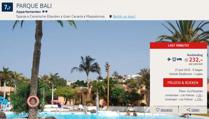 Screenshot van de Gran Canaria deal