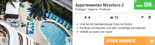 Screenshot van de Algarve deal