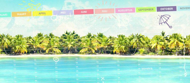 vakantiebestemmingen per maand