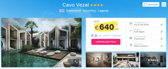 Screenshot van de luxe Zakynthos deal