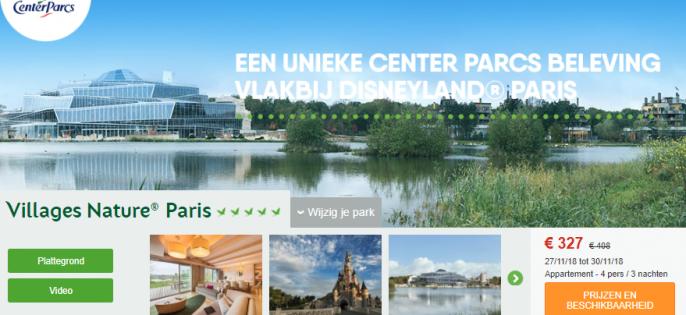 Screenshot van de Villages Nature aanbieding